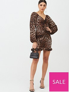 boohoo-boohoo-ruched-wide-sleeve-frill-leopard-print-mini-dress-brown