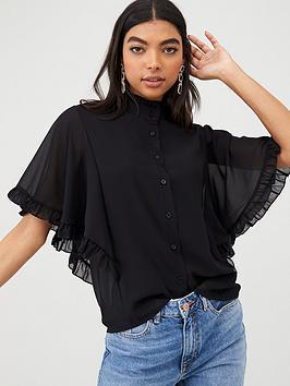 boohoo-boohoo-woven-ruffle-angel-sleeve-blouse-black