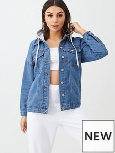 boohoo-boohoo-denim-jacket-with-jersey-hood-blue