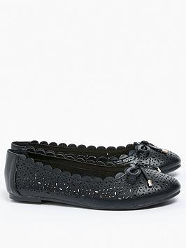evans-extra-wide-fit-renny-lazer-cut-ballet-shoe-black