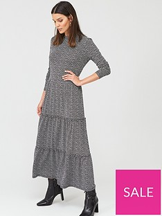warehouse-brushed-spot-tiered-midi-dress-black