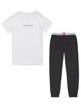 calvin-klein-girls-logo-pyjama-set-blackwhite