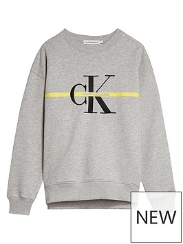 calvin-klein-jeans-girls-monogram-stripe-crew-neck-sweat-top-light-grey