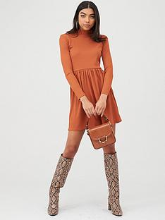boohoo-boohoo-ribbed-high-neck-skater-dress-rust