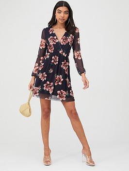boohoo-boohoo-floral-mesh-sleeve-skater-dress-black
