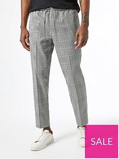 burton-menswear-london-check-smart-joggers-grey