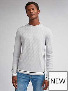 burton-menswear-london-tipped-textured-crew-neck-jumper-grey