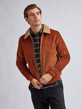 burton-menswear-london-cord-borg-collar-jacket-brownnbsp