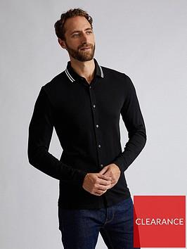 burton-menswear-london-contrast-collar-jersey-shirt-black