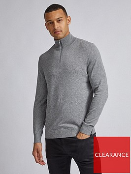 burton-menswear-london-half-zip-jumper-grey