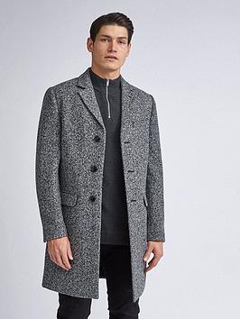 burton-menswear-london-grindle-texture-overcoat-grey