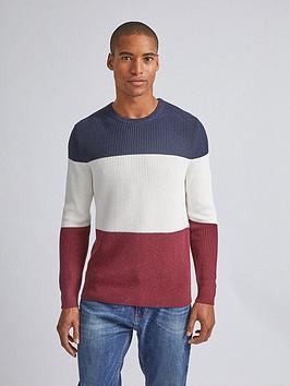 burton-menswear-london-colour-block-crew-neck-jumper-rednavy