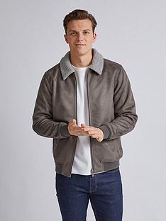 burton-menswear-london-suedette-borg-collar-jacket-grey
