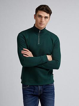 burton-menswear-london-half-zip-sweat-green