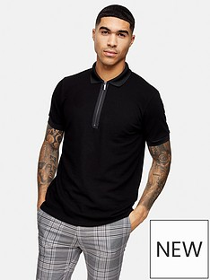 topman-short-sleeve-zip-polo-shirt-black