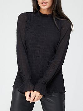 v-by-very-shirred-ruffle-neck-woven-blouse-black