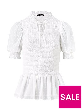 v-by-very-dobby-woven-shirred-blouse-white