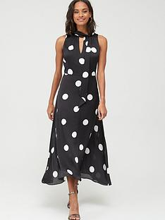 wallis-spot-satin-maxi-dress-black