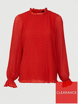 v-by-very-shirred-ruffle-neck-woven-blouse-red