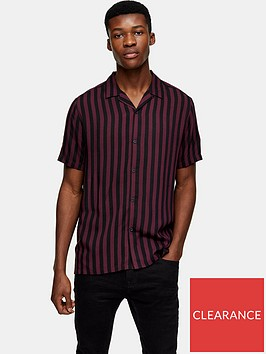 topman-short-sleeve-stripe-shirt-burgundy