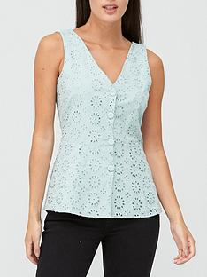 v-by-very-broderie-button-through-vest-mint-green
