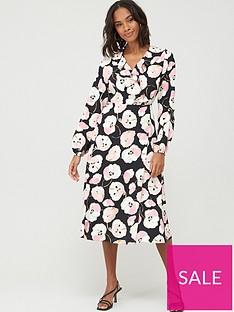 wallis-abstract-poppy-puff-sleeve-dress-black