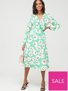 wallis-abstract-poppy-puff-sleeve-dress-green