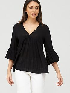 v-by-very-cheesecloth-dip-back-blouse-black