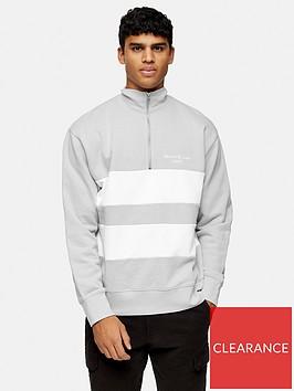 topman-long-sleeve-panel-zip-turtle-neck-top-grey