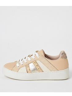 river-island-stud-detail-trainers-nude