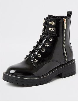 river-island-river-island-patent-lace-up-biker-boot-black