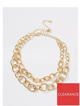 river-island-river-island-chunky-chain-two-pack-necklace-gold