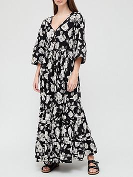 v-by-very-button-down-tie-waist-maxi-dress--nbspblack-floralnbsp