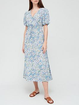 v-by-very-puff-sleeve-spun-wrap-dress-blue-floral