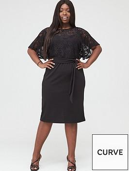 v-by-very-curve-lace-angel-sleeve-pencil-dress-black