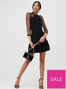 river-island-pussy-bow-puff-sleeve-knitted-dress-black