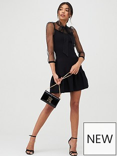 river-island-river-island-pussy-bow-puff-sleeve-knitted-dress-black