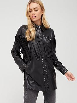 river-island-river-island-faux-leather-fringe-studded-jacket-black