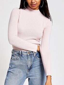 river-island-river-island-turtle-neck-knitted-top-pink