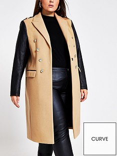 ri-plus-double-breasted-pu-sleeve-military-coat-camel