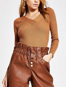 river-island-v-neck-knitted-top-brown