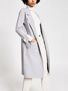 river-island-river-island-turn-up-sleeve-knitted-duster-jacket-grey