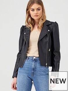 river-island-river-island-faux-leather-puff-sleeve-biker-jacket-black