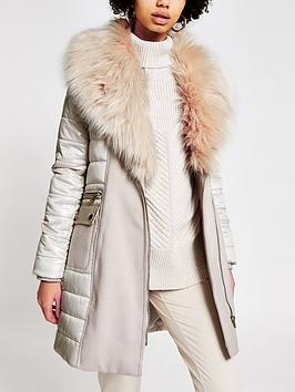 river-island-river-island-faux-fur-hybrid-padded-coat-beige