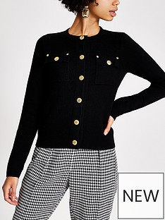 river-island-river-island-military-button-detail-cardigan-black
