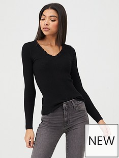 river-island-river-island-frill-v-neck-rib-knitted-jumper-black