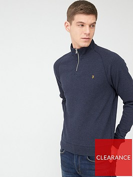 farah-jim-quarter-zip-sweatshirt-navy-marl