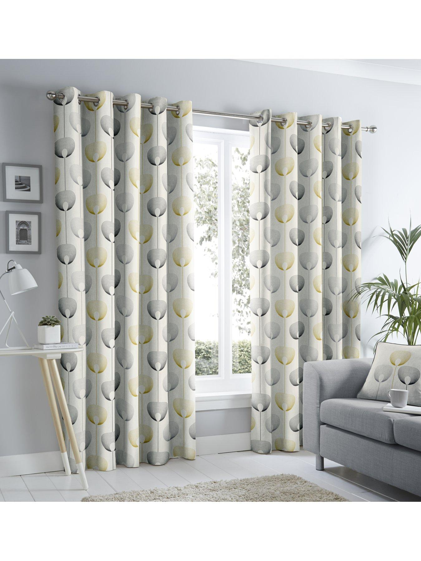 Delta MODERN Scandi Lined EYELET Ring Top Curtains Ready Made 3 COLOURS