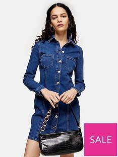topshop-button-through-denim-stretch-mini-dress-blue