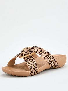 crocs-serena-crosband-flat-thick-sole-printed-sandal-leopard